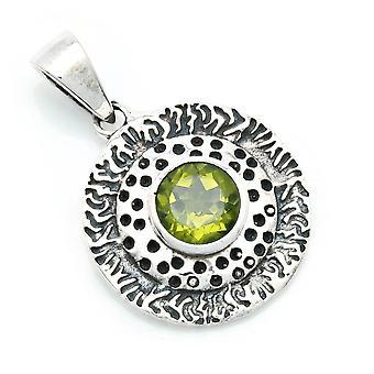 Amuleto de caneta de corrente prata 925 Sterling Silver Peridot Green Stone (Não: MAH 136-59)