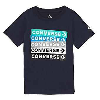 Converse All Star Junior Kids T-Shirt Shirt Tee Navy Blue