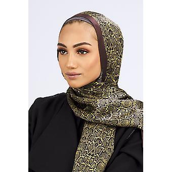Silk satin scarf in lime & black leopard print