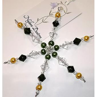Handmade hanging Snowflake decoration in Green, Gold by Nyleve Designs
