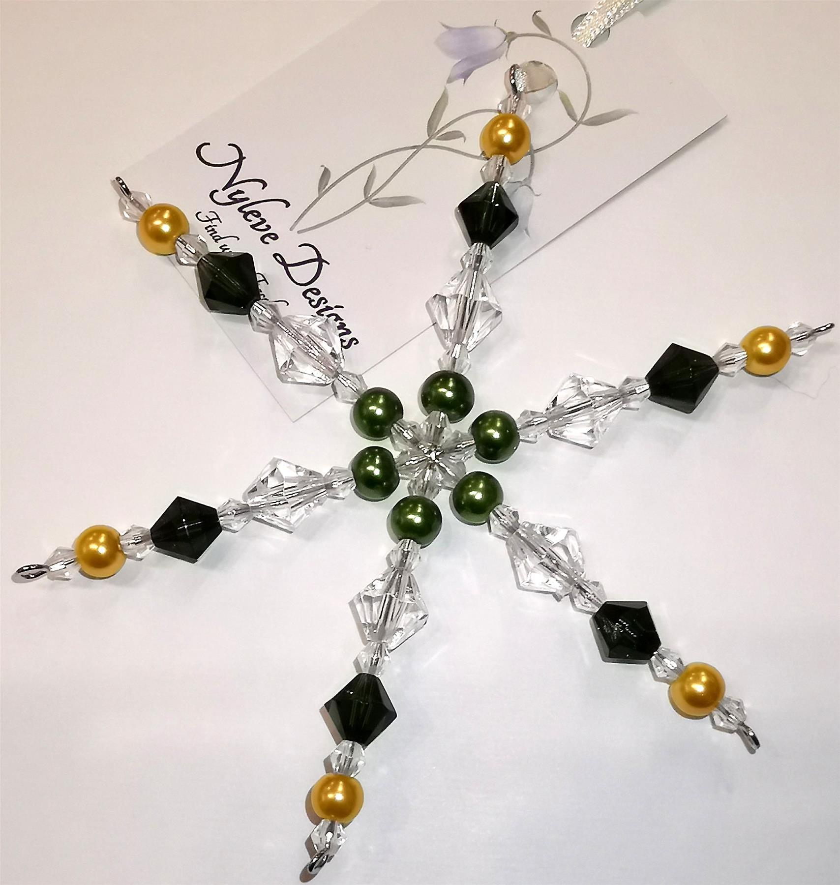 Nyleve Designs handmade hanging Snowflake decoration in Green, Gold