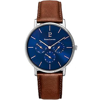 Watch Pierre Lannier CITYLINE 208G164-Watch Case Steel ranne koru nahka ruskea Dial Blue Man