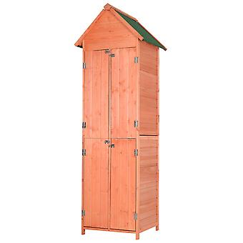Outsunny Tall Pine Wood Garden Shed Outdoor Storage w/ 2 Shelves 4 Doors Tilted Roof Narrow Storage 208x54cm