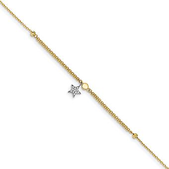 7.06mm 14k Two tone CZ Cubic Zirconia Simulated Diamond and Star With 1inch Ext. Anklet 10 Inch Jewelry Gifts for Women