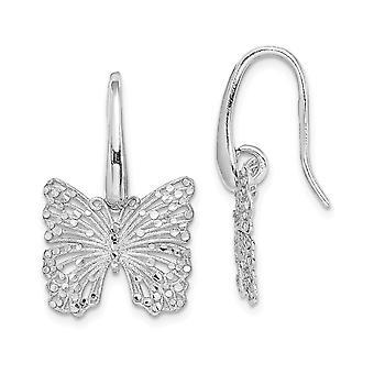 925 plata esterlina Rhodium plateado cepillado y pulido sparkle corte mariposa ángel alas pendientes regalos de joyería para Wom