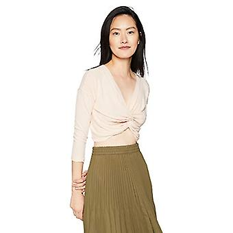 ASTR the label Women's Twist Front Long Sleeve Crop, Pale Pink, Size X-Small