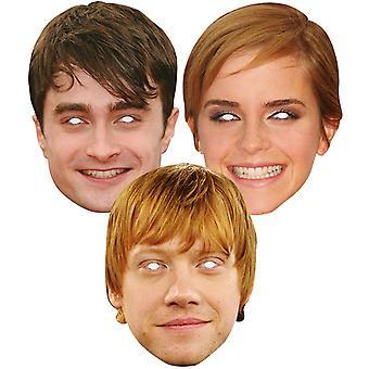 Daniel Radcliffe, Emma Watson og Rupert Grint 2D Card Party Masker Pakke med 3