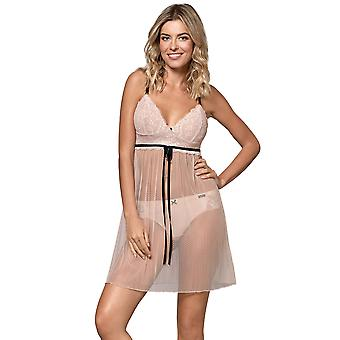 Nipplex Women's Pia Cappuccino Beige Spotted Lace Chemise Nightdress