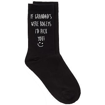 Mens If Grandad's Were Bogeys I'd Pick You Black Calf Socks