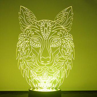 Światło LED akrylowe głowy ozdobny Wilk