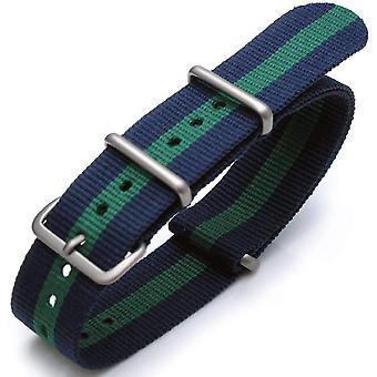 """כתפיות n. t. o שעון רצועה 20mm g10 נאט""""ו ג'יימס בונד רצועת ניילון כבדה מוברש אבזם-j05 כחול-ירוק-כחול"""