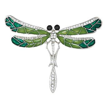 Eternal Collection Vintage Dragonfly Enamel And Crystal Silver Tone Brooch