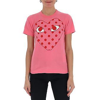 Comme Des Garçons Play P1t2753 Women's Pink Cotton T-shirt