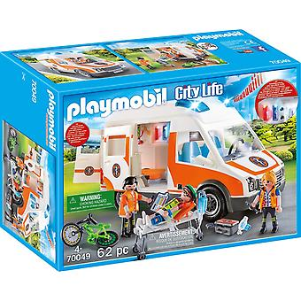 Playmobil 70049 City Life Ambulance with Lights and Sound 62PC Playset