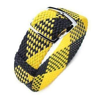 Strapcode stof urrem 20mm miltat perlon urrem, sort og gul, poleret stigen lås skyderen spænde