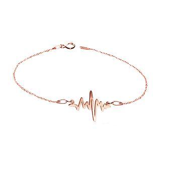 اه! المجوهرات 18K ارتفع الذهب على الجنيه الاسترليني قلادة خط القلب الفضي، مختومة 925