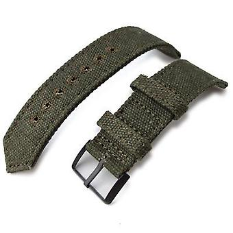 Strapcode fabric watch strap 20mm, 21mm or 22mm miltat ww2 2-piece military green washed canvas watch band with lockstitch round hole, pvd black