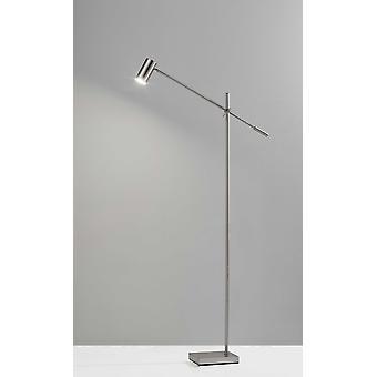 "6.5"" X 22.5- 30.5"" X 58""- 63"" Geborsteld eimetaal LED-vloerlamp"