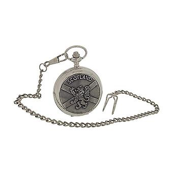 Boxx Gents Scotland Lion & Cross Design Oxidised Cover Pocket Watch 14 Inch Chain BOXX397