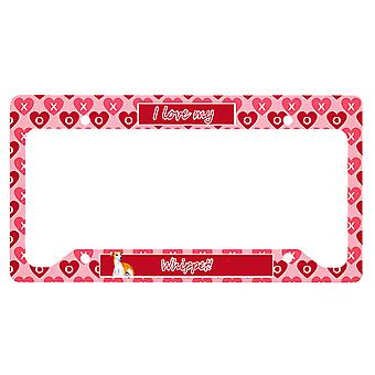 Carolines Treasures  LH9148LPF Whippet Valentine's Love and Hearts License Plate