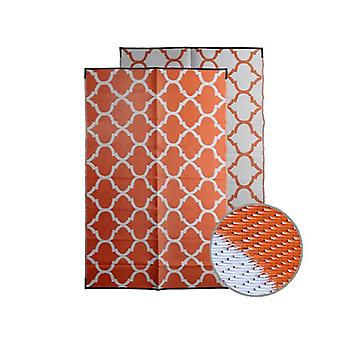 Moroccan Recycled Plastic Mat Orange And White