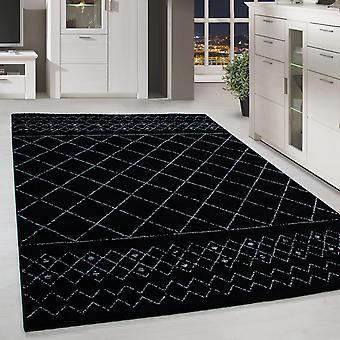 Kortblomstret design tæppe flise mønster stue tæppe grå sort broget