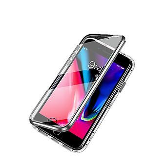 Magneettinen kuori kaksipuolinen karkaistu lasi - iPhone 7 ja 8 - Hopea
