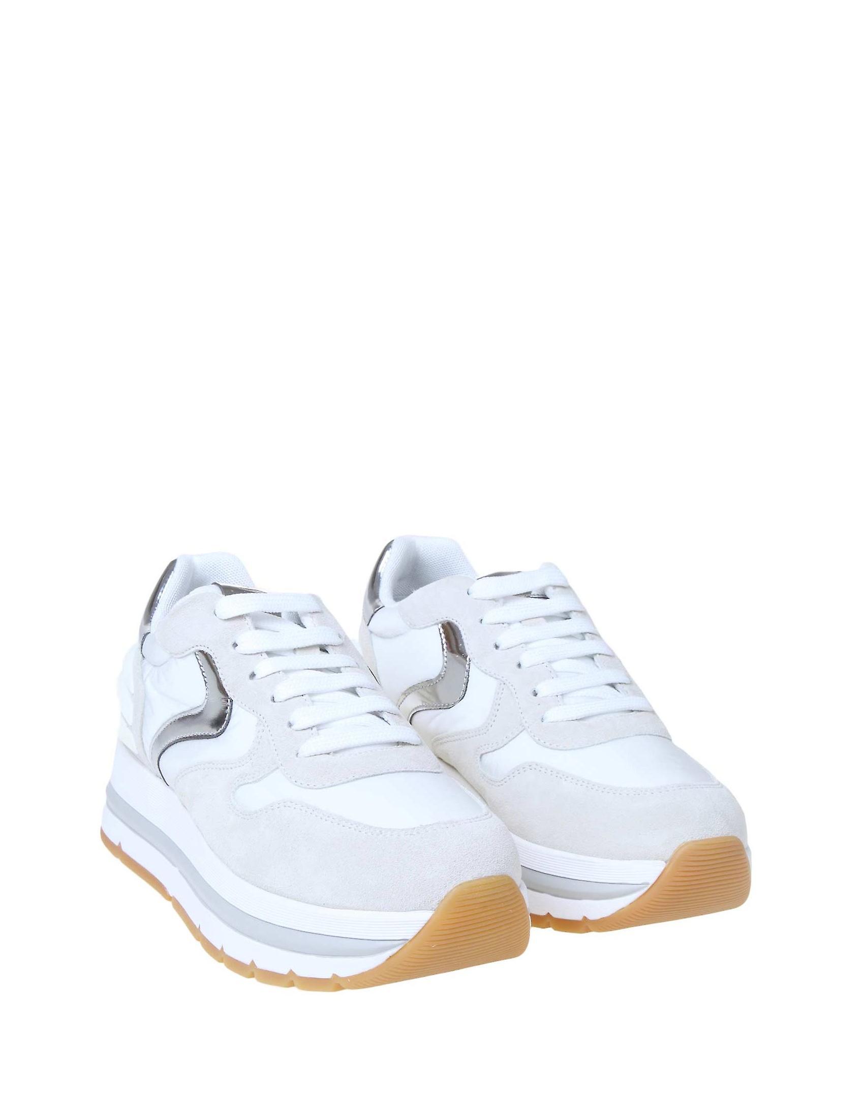 Voile Blanche 1e05001201475106 Damen's Weiße Stoff Sneakers