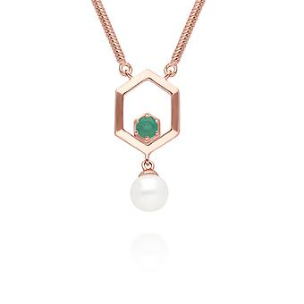Modern Pearl & Emerald Hexagon Drop Necklace in Rose Gold Plated Sterling Silver 270N035603925