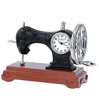 Miniature Old Fashioned Sewing Machine on Stand Novelty Desktop Collectors Clock 9661