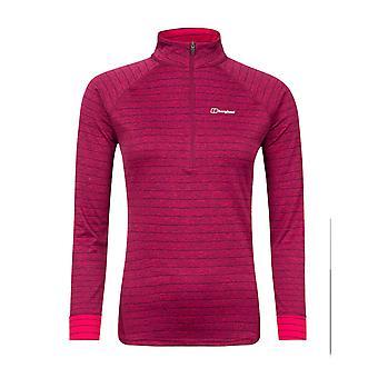 Berghaus Thermal Tech Womens 1/2 Zip Long Sleeve Fitness T-Shirt Tee Pink