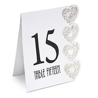 Heart Design Table Numbers 1-15 White