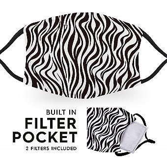 Zebra Print - Reusable Childrens Face Masks - 2 Filters Included