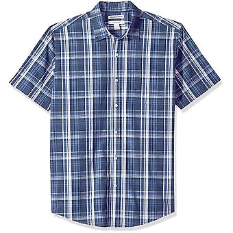 Essentials Men's Regular-Fit Short-Sleeve Plaid Casual, Blue, Size Small