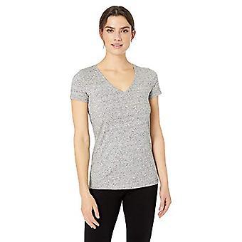 Brand - Daily Ritual Women's Stretch Supima Short-Sleeve V-Neck T-Shirt, heather grey spacedye, Large