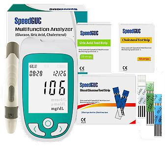 Multi-Function Cholesterol Uric Acid Blood Glucose Meter Glucometer Kit Diabetes Gout Tester Monitor Device & Test Strips
