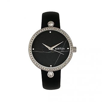 Bertha Frances Marble Dial Leather-Band Watch - Black