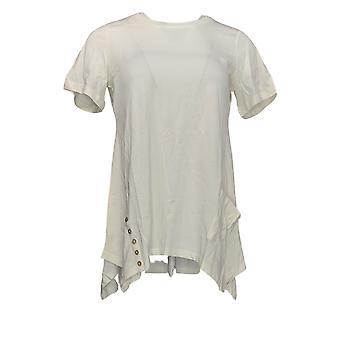 LOGO by Lori Goldstein Women's Top Knit Top w/ Button Detail ivory A301072