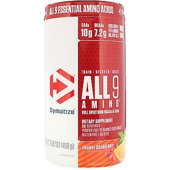 Dymatize Nutrition, ALL9AMINO, Canneberge orange, 15,87 oz (450 g)