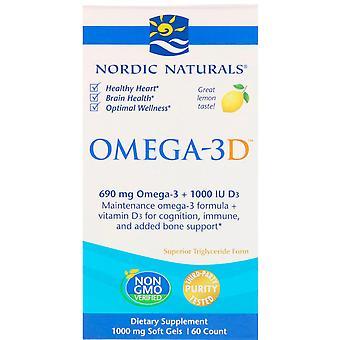 Nordiska Naturals, Omega-3D, Citron, 1000 mg, 60 Mjuka Geler