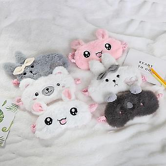 Cartoon Pluche slaapmasker - Cute Rabbit Bear Eye Cover voor slaap