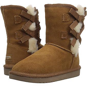 Kids Koolaburra Girls Victoria Suede Ankle Slip On Snow Boots
