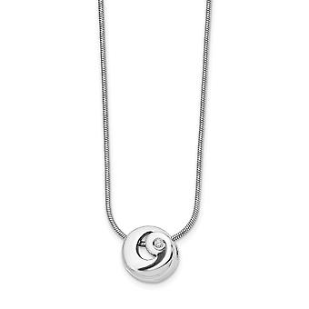 Polished Gift Boxed Rhodium plated Lobster Claw Closure White Ice .02ct. Diamond Necklace 18 Inch Jewelry Gifts for Wome