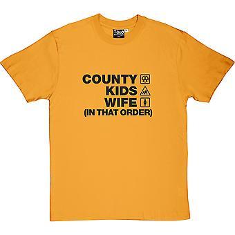 County Kids Wife (Nessa Ordem) Homens Amarelos'camiseta