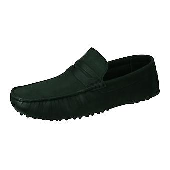 Base London Morgan Mens Slip On Leather Driving Loafers / Shoes - Black