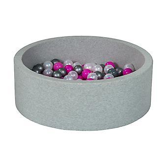 Poço de bola 90 cm com 200 bolas mãe de pérola, roxo e prata