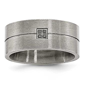 Stainless Steel Matte 0.03ct. Tw. Black Diamond 10mm Band Ring - Ring Size: 8.5 to 13