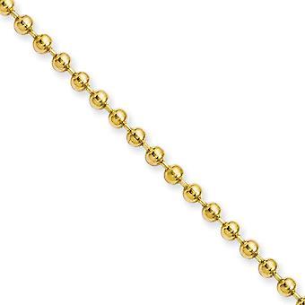 Acciaio inossidabile Ip oro lampeggiante polacco giallo IP placcato fantasia chiusura 3.0mm palla catena collana gioielli gioielli