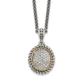 925 sterling zilver getextureerde gepolijste kreeft klauw sluiting met 14k diamanten ketting sieraden geschenken voor vrouwen