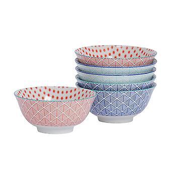 Nicola Spring 6 Piece Geometric Patterned Cereal Bowl Set - Porcelain Breakfast Dessert Serving Bowls - 3 Colours - 16cm